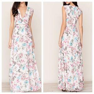 YUMI KIM blush swept away wrap maxi dress M